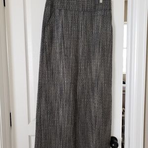 J Crew black and white wool maxi skirt